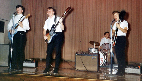"""Ekkos"" playing at Grafton High School – 1965. I'm on the right."
