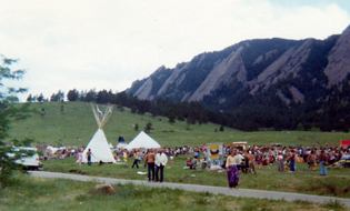 Spiritual festival in Boulder, Colorado – June 1974. Flatirons in background.