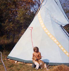 Tipi on Wausaukee Road, Wisconsin. Me with Lika – 1973